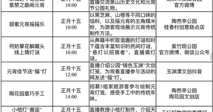 """北京市属公园:邀您""""云上""""闹元宵,全部活动安排看这里"""