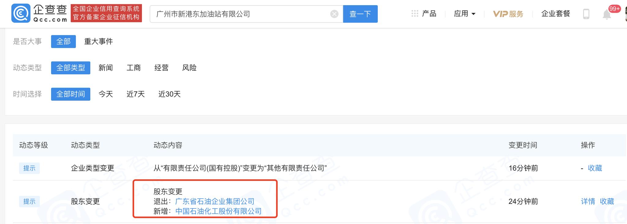 中国石化入股广州市新港东加油站有限公司