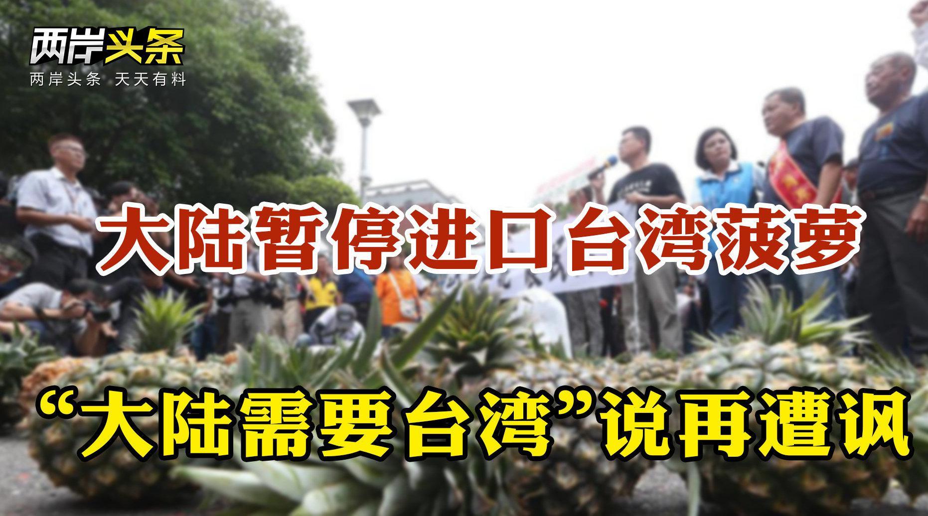 """大陆暂停进口台湾菠萝 """"大陆需要台湾""""说再遭讽"""