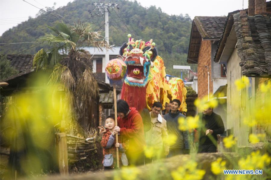 Local residents parade to celebrate the Lantern Festival in Jiangle County, southeast China's Fujian Province, Feb. 26, 2021. Various activities were held across China to celebrate the Lantern Festival on Friday, the 15th day of the first month of the Chinese lunar calendar. (Photo by Dong Guansheng/Xinhua)