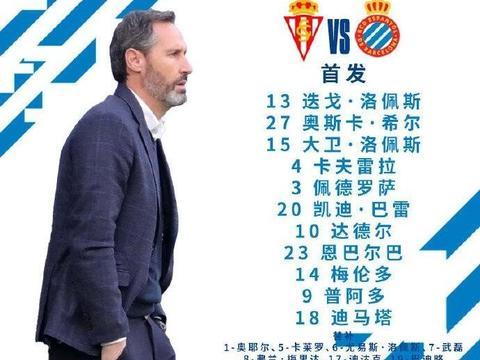 西班牙人对阵希洪竞技首发名单出炉,武磊继续替补