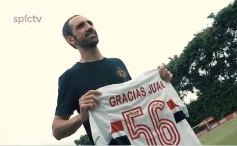 前马竞后卫胡安-弗兰离开圣保罗队,获赠俱乐部纪念球衣