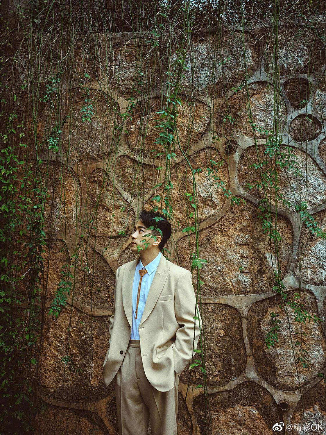 刘恺威驼色西服套装搭配同色系领带,文艺儒雅又个性十足