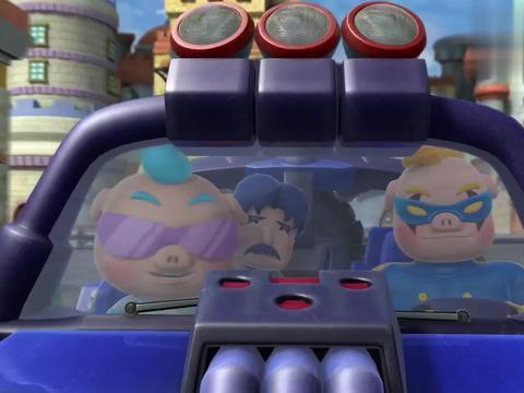 猪猪侠:冰封鹿拯救被绑架的小女孩,却被一个冰箱踢下车,太逗了