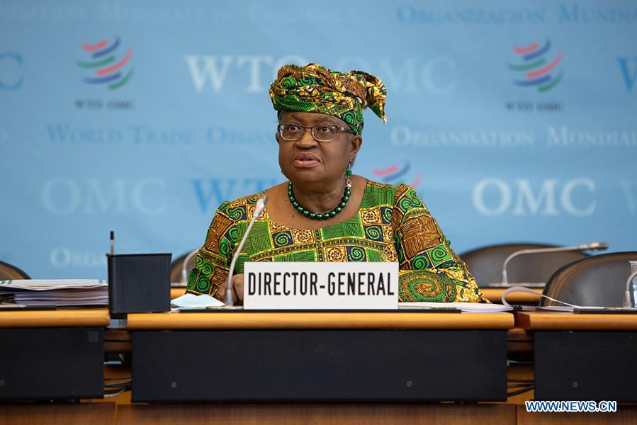 Ngozi Okonjo-Iweala addresses a meeting of the World Trade Organization's General Council in Geneva, Switzerland, on March 1, 2021. The World Trade Organization's first female and first African Director General, Ngozi Okonjo-Iweala, officially took office on Monday, ending a six-month