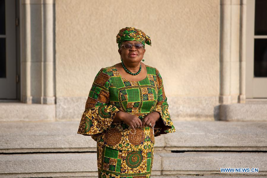 Ngozi Okonjo-Iweala arrives at the World Trade Organization headquarters in Geneva, Switzerland, on March 1, 2021. The World Trade Organization's first female and first African Director General, Ngozi Okonjo-Iweala, officially took office on Monday, ending a six-month