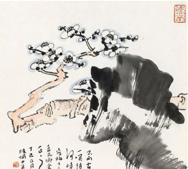 「津门网」梅花飘飘,陆俨少的画不是现实中的样子,更像诗里才有