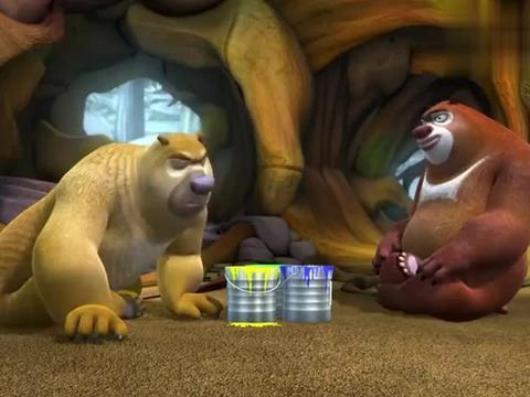 熊出没:熊二把油漆罐蜂蜜桶里,光头强却当成蜂蜜给吃了