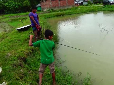 哥哥弟弟水塘边钓鱼,连抛几竿,看看他们钓了多少条大鱼?