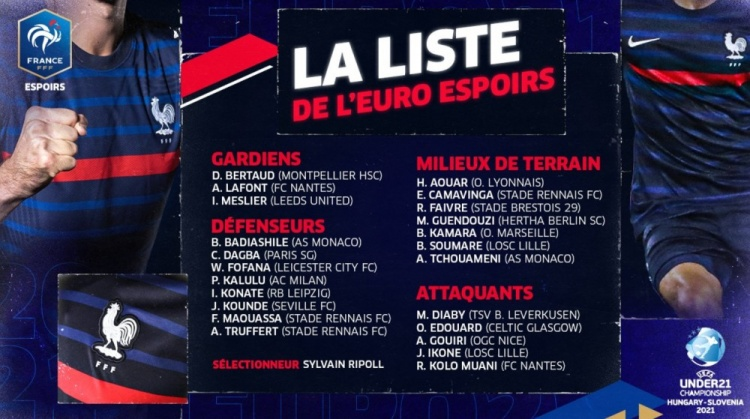 法国U21大名单:贡多齐、奥亚尔加入选,卡卢卢、孔德在列