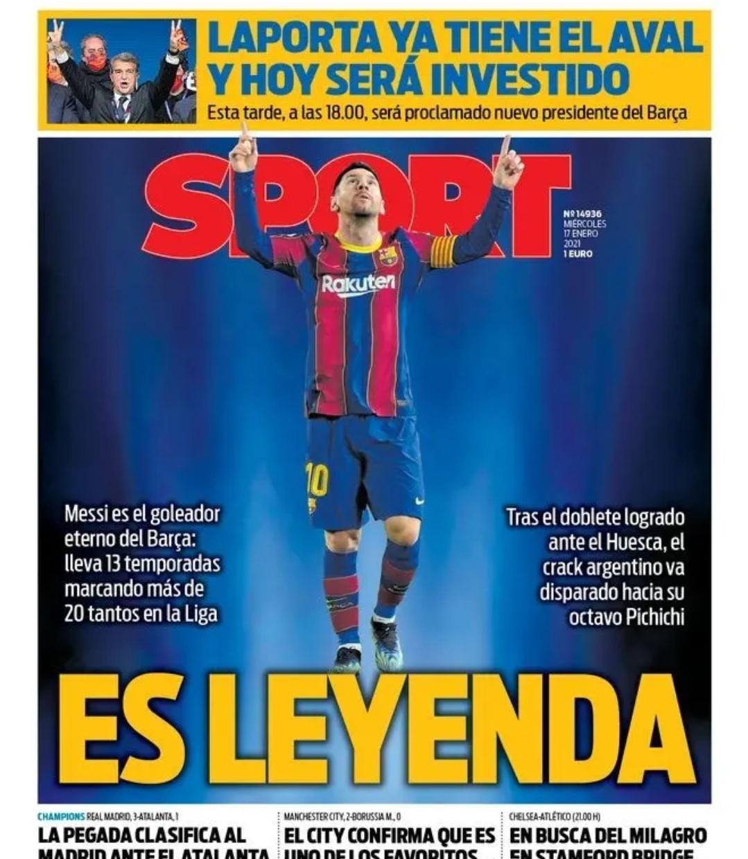 3月17日西班牙《每日体育报》封面:传奇