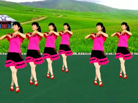 经典老歌广场舞《敖包相会》草原天籁之音真好听,12步一看就会