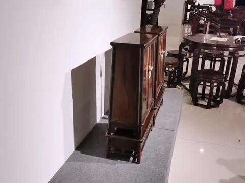 大红酸枝家具,黑飘红,经典独板明式小圆角柜