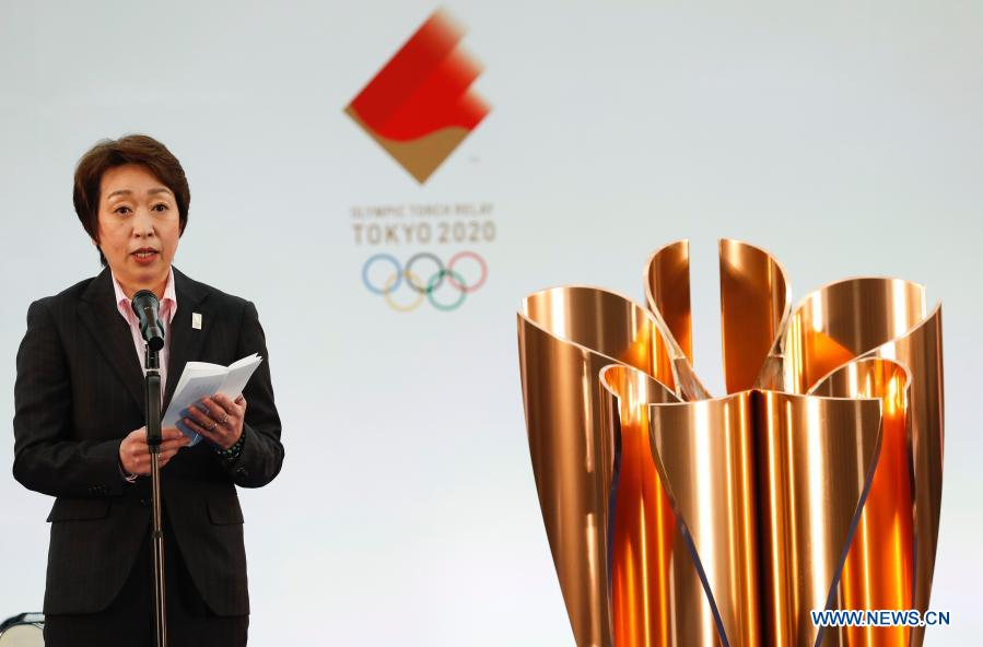 Tokyo 2020 Organizing Committee President Hashimoto Seiko delivers a speech during the opening ceremony on the first day of the Tokyo 2020 Olympic torch relay in Naraha, Fukushima of Japan, on March 25, 2021. (Kim Kyung-Hoon/Pool via Xinhua)