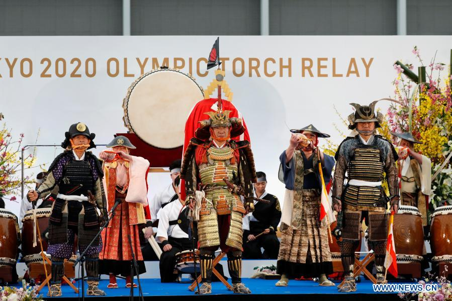 Members of Shinehago Equestrian Association perform during the opening ceremony on the first day of the Tokyo 2020 Olympic torch relay in Naraha, Fukushima of Japan, on March 25, 2021. (Kim Kyung-Hoon/Pool via Xinhua)
