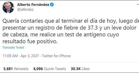 阿根廷总统阿尔韦托·费尔南德斯新冠病毒检测呈阳性
