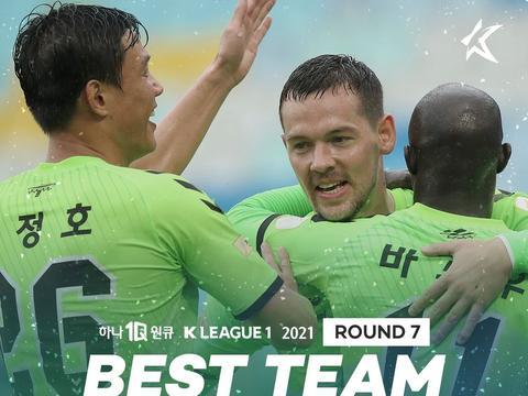 K1联赛第七轮最佳评选:伊柳琴科再夺MVP,光州新秀首入名单