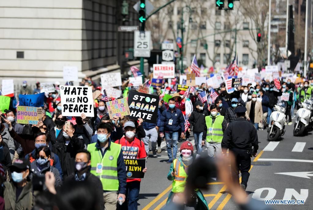 People march to protest against anti-Asian hate crimes in New York, the United States, April 4, 2021. A big