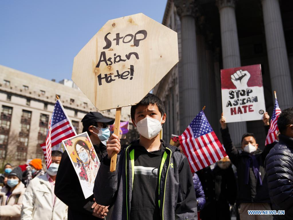 People rally to protest against anti-Asian hate crimes on Foley Square in New York, the United States, April 4, 2021. A big