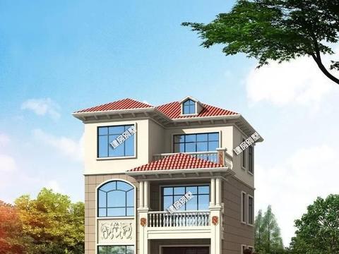 小面宽两间设计的三层别墅,简欧风格+南北通透,造价也合适