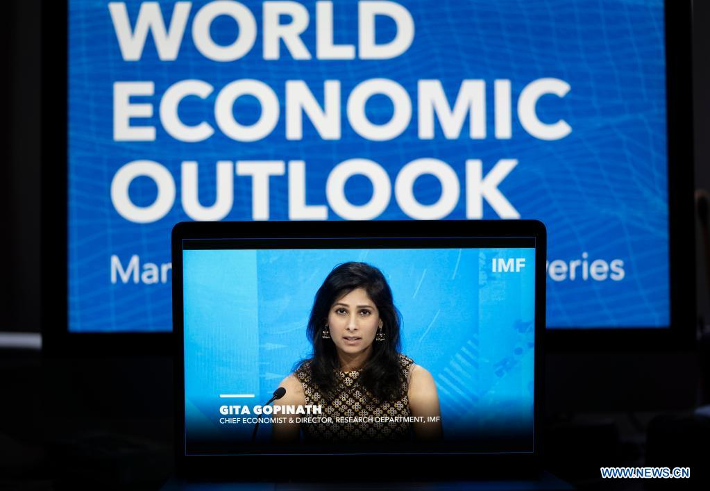 International Monetary Fund (IMF) Chief Economist Gita Gopinath speaks at a virtual press briefing during the World Bank/IMF Spring Meetings in Washington D.C., the United States, April 6, 2021. IMF on Tuesday projected that the global economy will grow by 6 percent in 2021, 0.5 percentage point above the January forecast, according to the latest World Economic Outlook. (Xinhua/Liu Jie)
