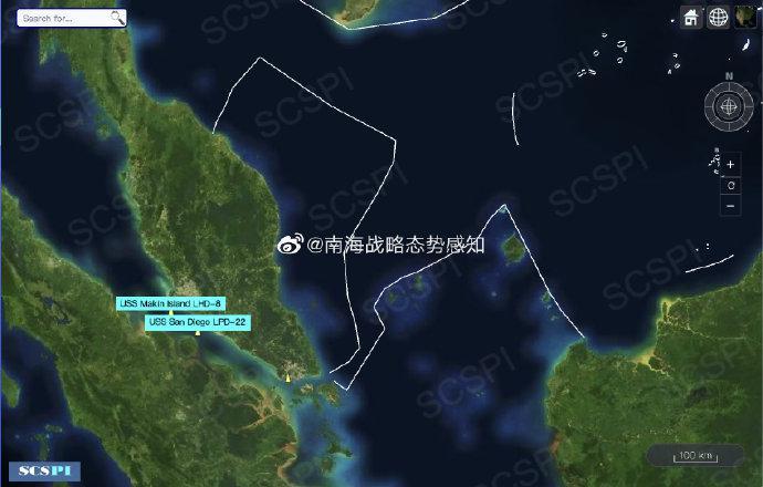 美海军马金岛号两栖戒备群进入南海