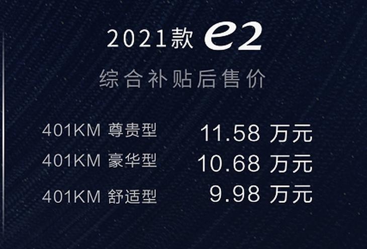 新款比亚迪e2正式上市 售9.98-11.58万元 动力系统升级