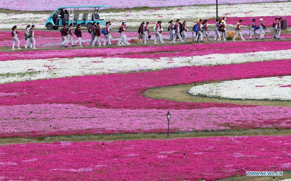 Students enjoy flowers in Huai'an, east China's Jiangsu Province, April 7, 2021. (Photo by He Jinghua/Xinhua)