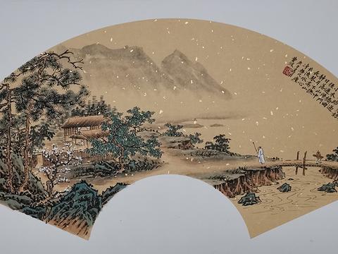 仿古山水画名家费波,扇面仿古山水画作品欣赏