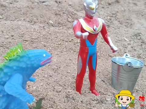 玩具小剧场,戴拿奥特曼巡逻找水喝,遇见贝利亚和小怪兽危险了