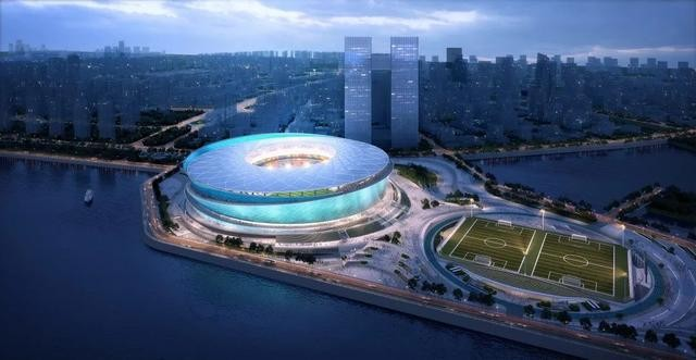 中冶钢构中标大连梭鱼湾足球场钢结构工程,我国唯一三面环海球场