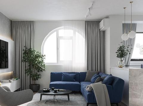 优雅的蓝灰搭配,85平现代简约风,阁楼变卧室