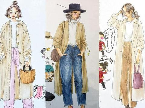 """穿卡其色风衣时,如何优雅时髦?日系""""插画穿搭"""",为你高度揭秘"""
