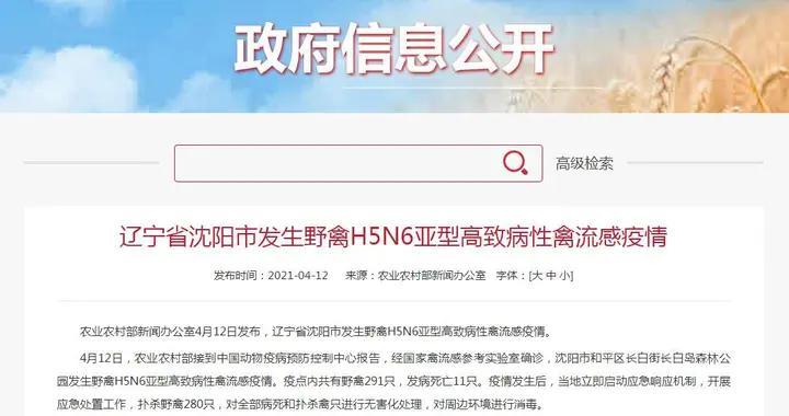 农业农村部:辽宁省沈阳市发生野禽H5N6亚型高致病性禽流感疫情