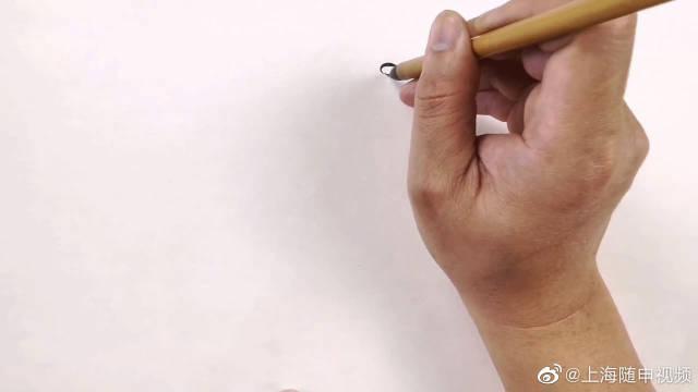 水墨鸟画图,运笔的力度用对了,很容易就画出好看的效果