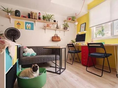 33平小户型公寓,全屋配色太漂亮!隔断用储物柜