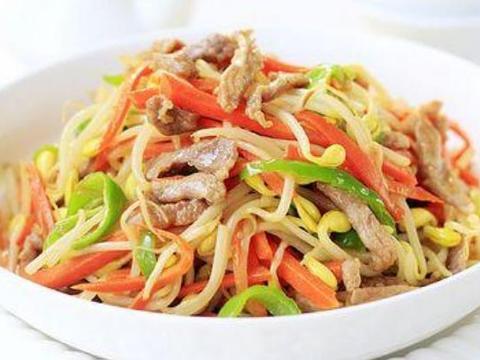 孩子爱吃的豆芽炒肉丝,荤素搭配有营养,解馋的家常菜肴