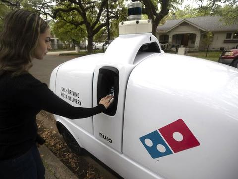 达美乐与Nuro合作 在休斯顿利用自动驾驶机器人配送披萨
