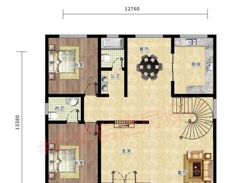 12.7×13.3米的农村三层别墅,现代细节设计,品质共享才高级