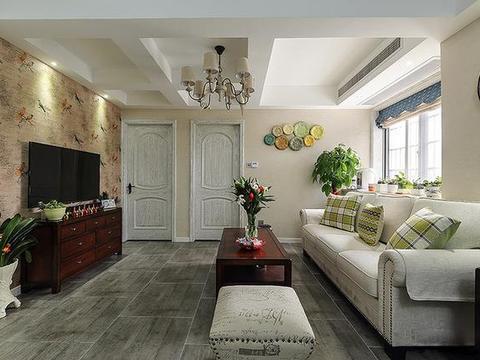 126平新房,客厅漂亮又大气,浴室柜当隔断