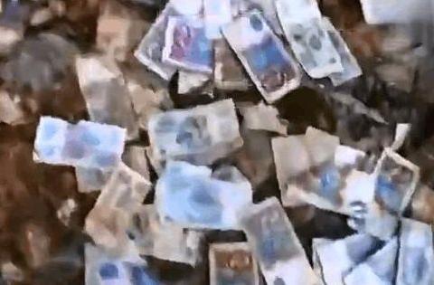 男子游玩时发现一堆奇怪的钱币,走进细看,男子却不明白