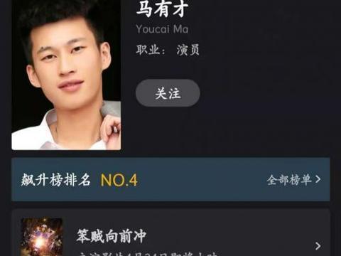 《笨贼向前冲》将映,主演马有才登猫眼TOP100影人榜第四名