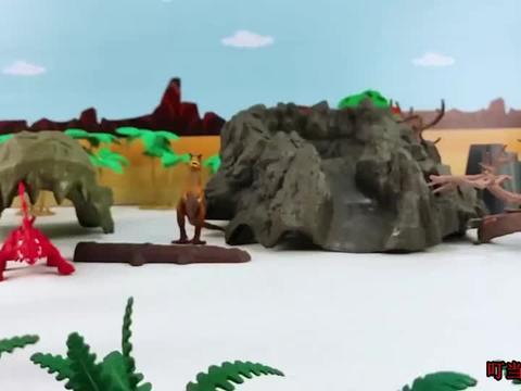 坏蛋棘龙和异特龙欺负小恐龙宝宝,还扑倒副肢龙