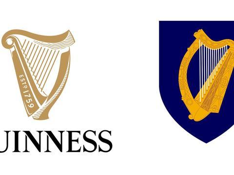 因为吉尼斯的注册商标是竖琴,爱尔兰政府不得不将国徽翻个面儿