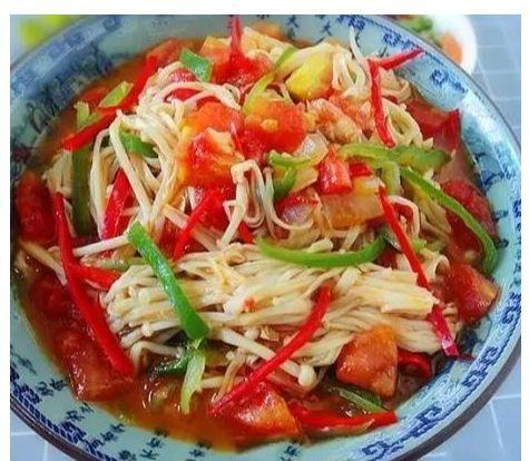 美食:香辣炒包菜,茄汁金针菇,红烧黄花鱼,腊肉炒萝卜干