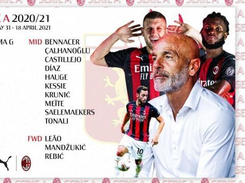 米兰大名单:伊布停赛,曼朱基奇、罗马尼奥利回归