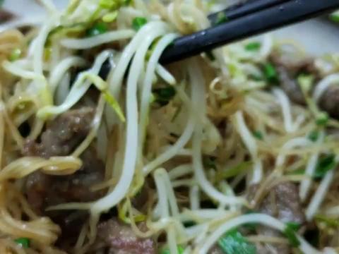 广东连州,水螺芥菜生滚粥,牛肉炒沙坊切粉