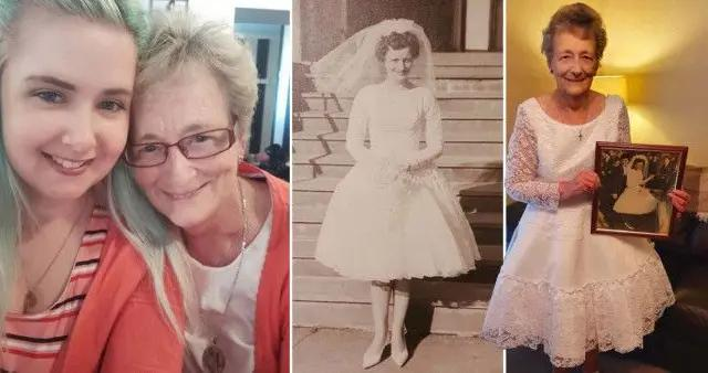 女孩还原59年前婚纱送祖母