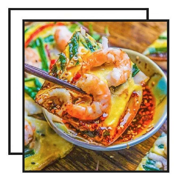 【明天吃】韩式海鲜葱饼、椰汁西米糕、黄油煎斑节虾、红油抄手、鸡丝酸辣汤