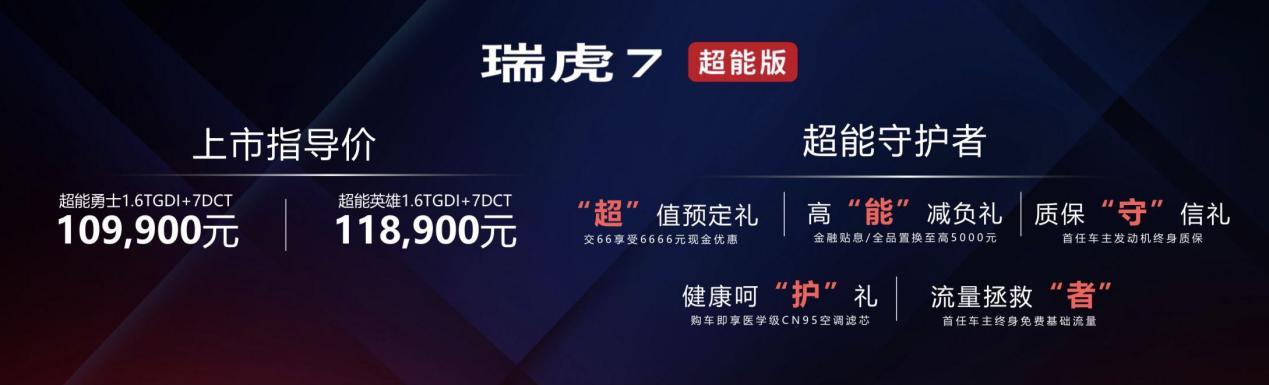 瑞虎7超能版上市 用高配置争夺10万元SUV市场